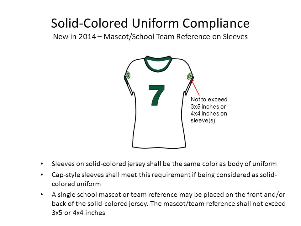Solid-Colored Uniform Compliance New in 2014 – Mascot/School Team Reference on Sleeves Shall not exceed 4x4 or 3x5 inches to preserve integrity of solid-colored body Front Back