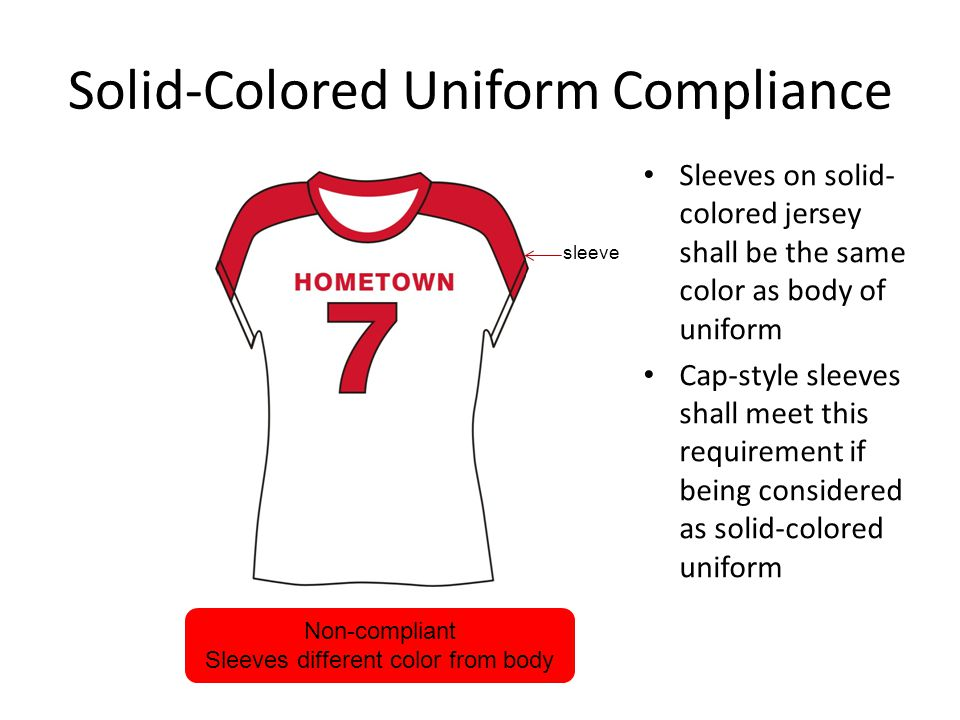 Solid-Colored Uniform Compliance Sleeves on solid- colored jersey shall be the same color as body of uniform Cap-style sleeves shall meet this requirement if being considered as solid-colored uniform Non-compliant Sleeves different color from body sleeve