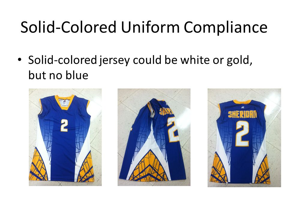 Solid-Colored Uniform Compliance Non-compliant – design on solid-colored jersey