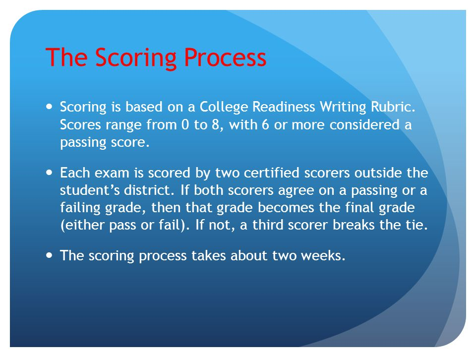 The Scoring Process Scoring is based on a College Readiness Writing Rubric. Scores range from 0 to 8, with 6 or more considered a passing score. Each