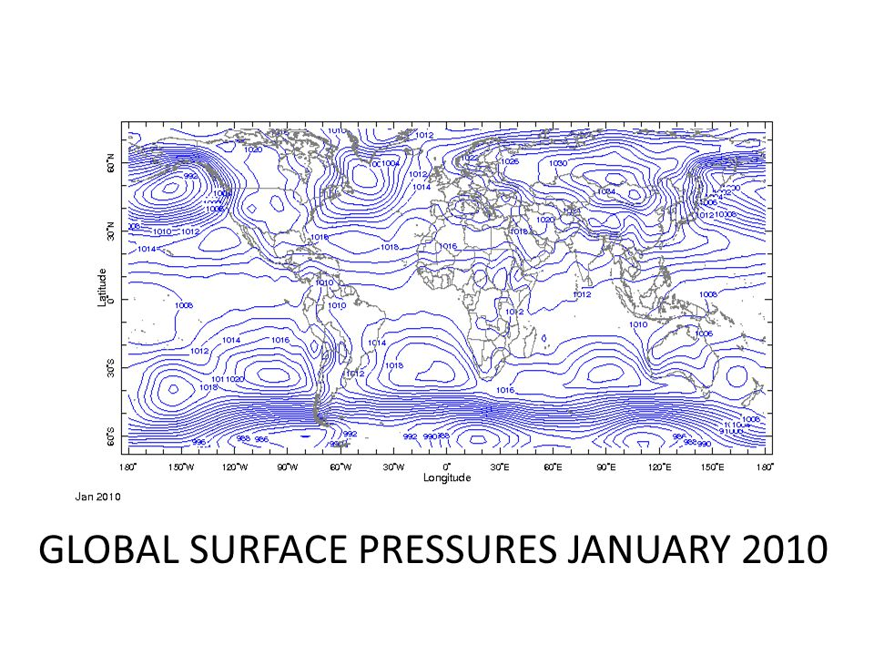 GLOBAL SURFACE PRESSURES JANUARY 2010