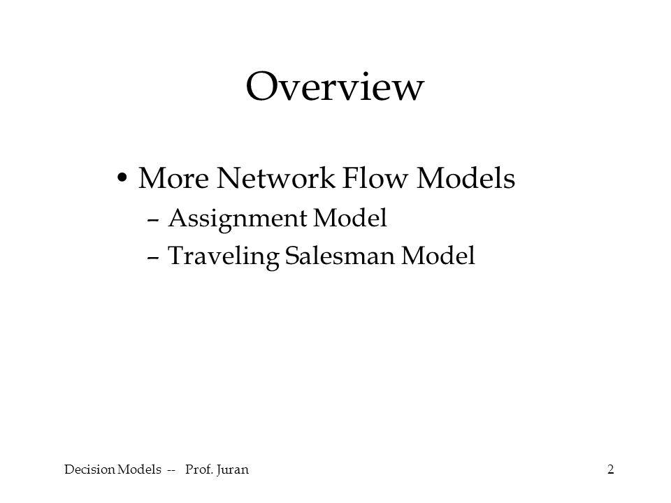 Decision Models -- Prof. Juran13