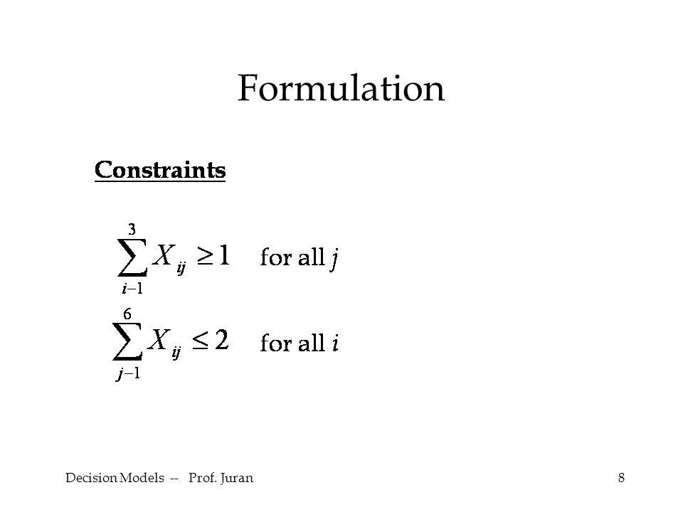 Decision Models -- Prof. Juran29 5
