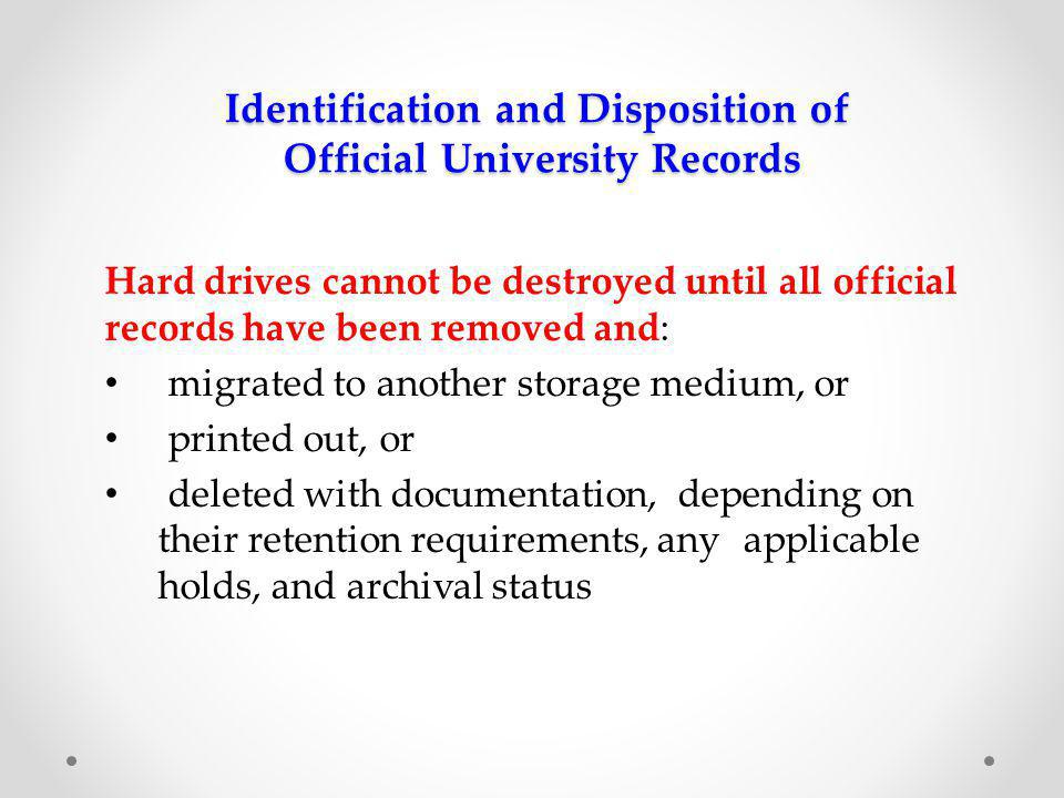 Identification and Disposition of Official University Records UT Arlington Information Resources Acceptable Use Policy All critical University data (electronic files) will be saved on network servers to ensure backup of the data.
