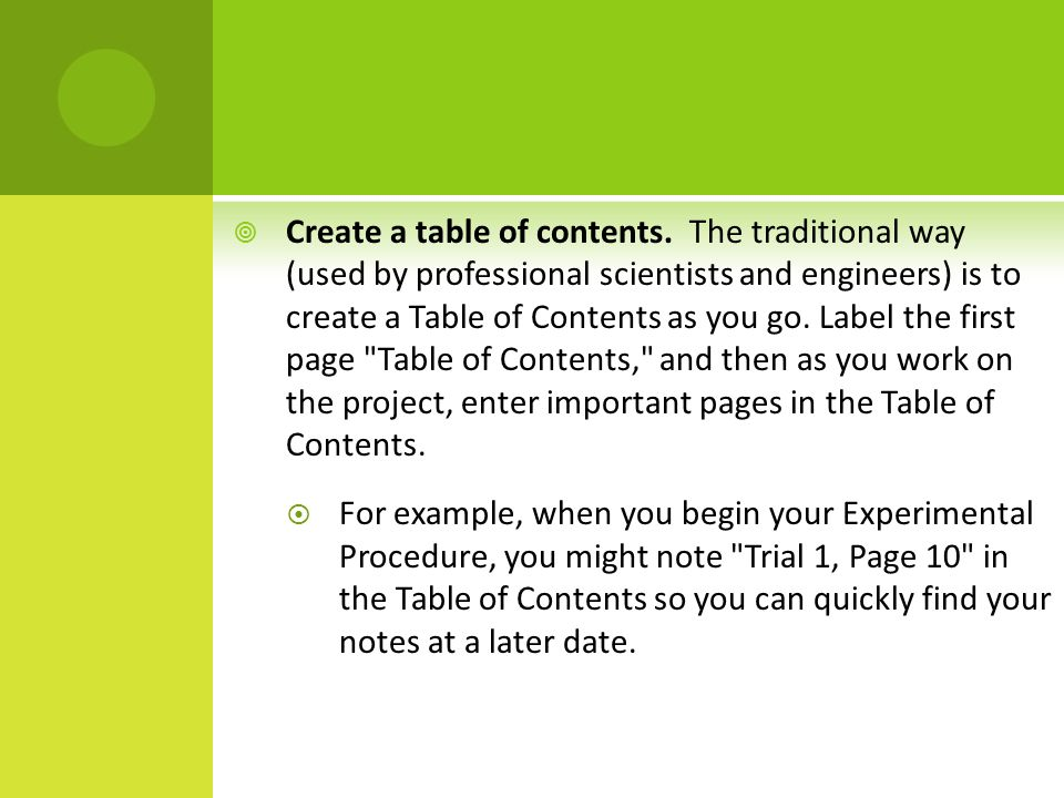  Create a table of contents.