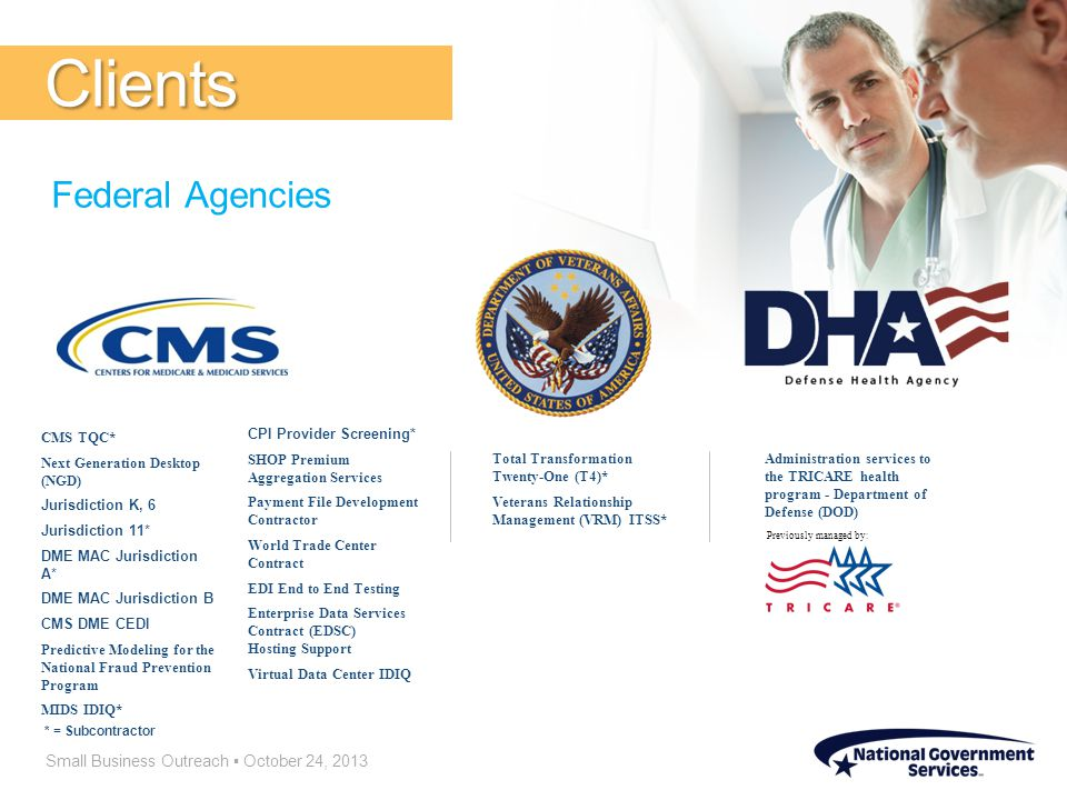 Small Business Outreach ▪ October 24, 2013 Clients Federal Agencies CMS TQC* Next Generation Desktop (NGD) Jurisdiction K, 6 Jurisdiction 11* DME MAC Jurisdiction A* DME MAC Jurisdiction B CMS DME CEDI Predictive Modeling for the National Fraud Prevention Program MIDS IDIQ* CPI Provider Screening* SHOP Premium Aggregation Services Payment File Development Contractor World Trade Center Contract EDI End to End Testing Enterprise Data Services Contract (EDSC) Hosting Support Virtual Data Center IDIQ * = Subcontractor Total Transformation Twenty-One (T4)* Veterans Relationship Management (VRM) ITSS* Administration services to the TRICARE health program - Department of Defense (DOD) Previously managed by: