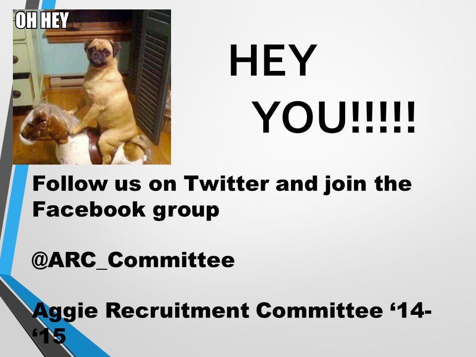 HEY YOU!!!!! Follow us on Twitter and join the Facebook group @ARC_Committee Aggie Recruitment Committee '14- '15