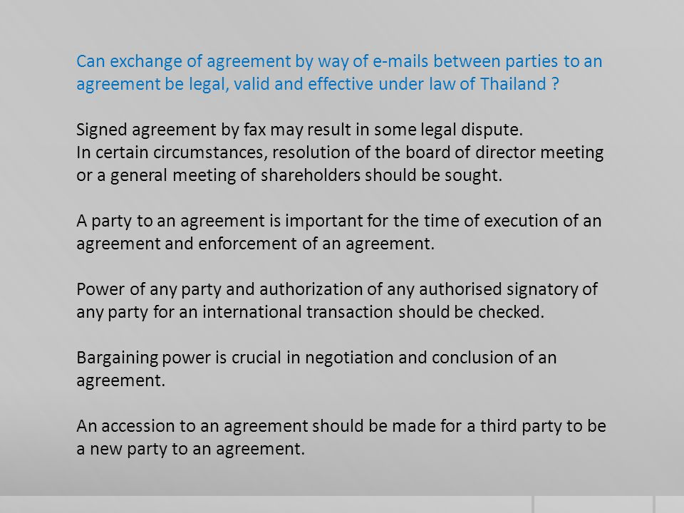 One party is not an agent or a joint and several partner of the other party.