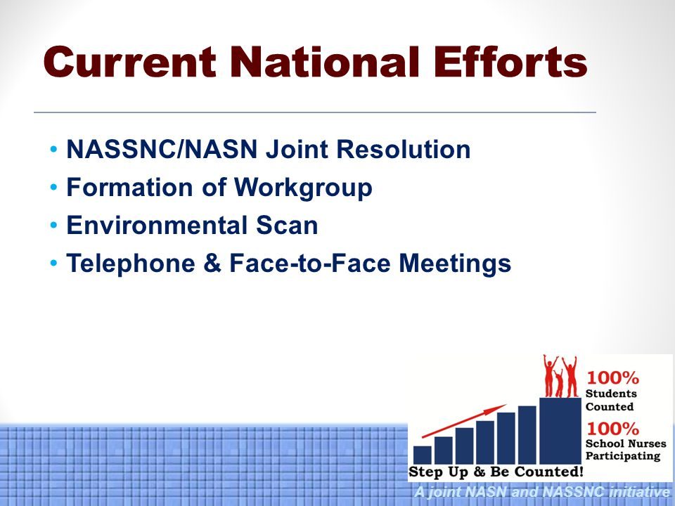 A joint NASN and NASSNC initiative NASSNC/NASN Joint Resolution Formation of Workgroup Environmental Scan Telephone & Face-to-Face Meetings Current National Efforts