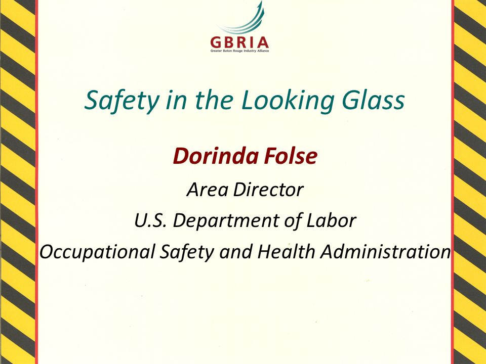 Safety in the Looking Glass Dorinda Folse Area Director U.S.