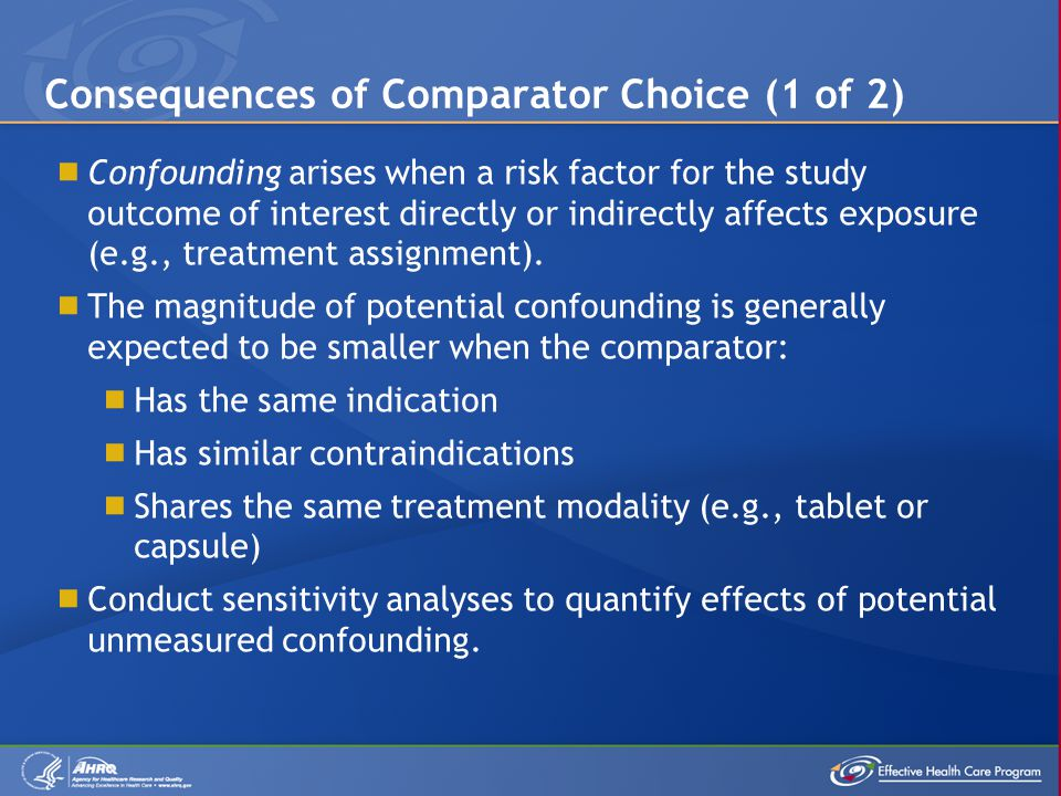  Confounding arises when a risk factor for the study outcome of interest directly or indirectly affects exposure (e.g., treatment assignment).  The