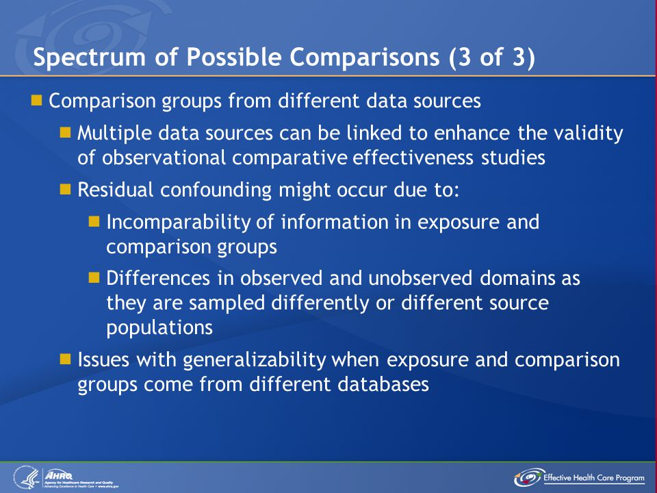  Comparison groups from different data sources  Multiple data sources can be linked to enhance the validity of observational comparative effectiveness studies  Residual confounding might occur due to:  Incomparability of information in exposure and comparison groups  Differences in observed and unobserved domains as they are sampled differently or different source populations  Issues with generalizability when exposure and comparison groups come from different databases Spectrum of Possible Comparisons (3 of 3)