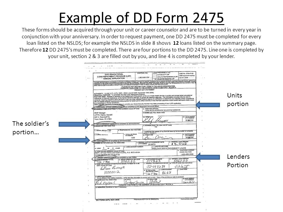 Example of DD Form 2475 These forms should be acquired through your unit or career counselor and are to be turned in every year in conjunction with your anniversary.