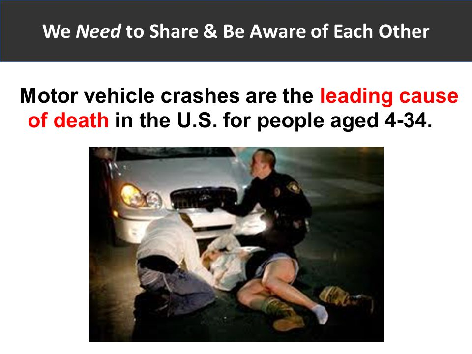Motor vehicle crashes are the leading cause of death in the U.S.