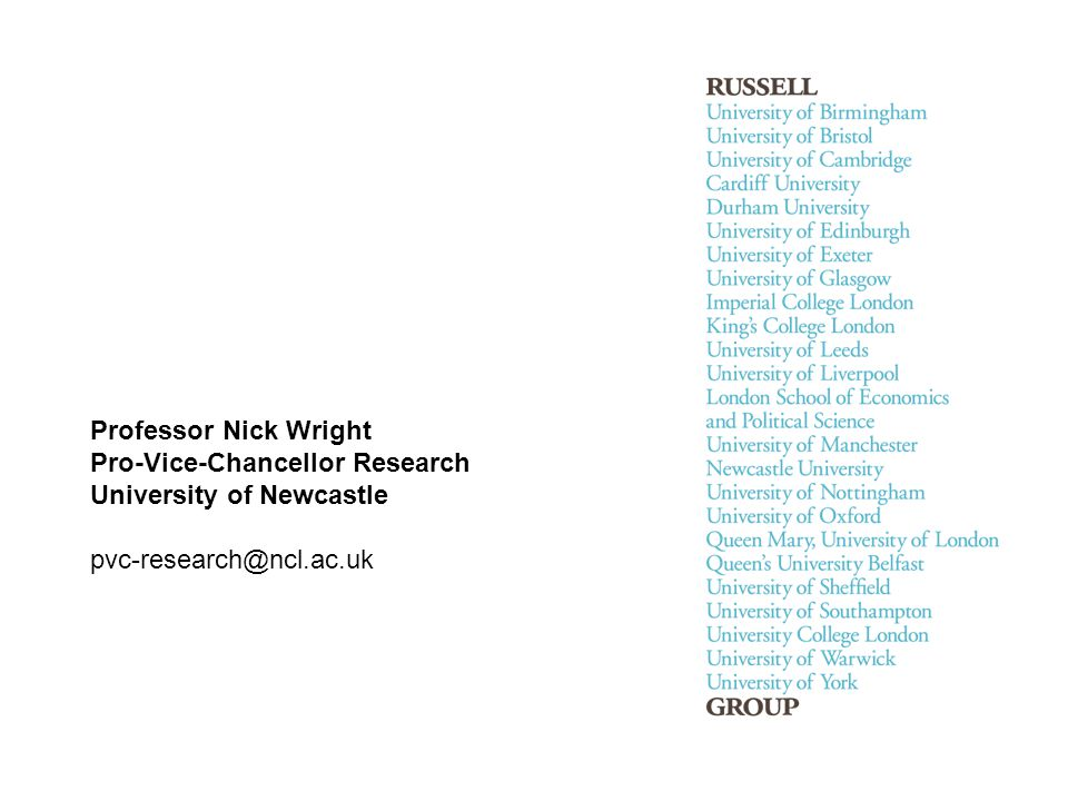 Professor Nick Wright Pro-Vice-Chancellor Research University of Newcastle pvc-research@ncl.ac.uk