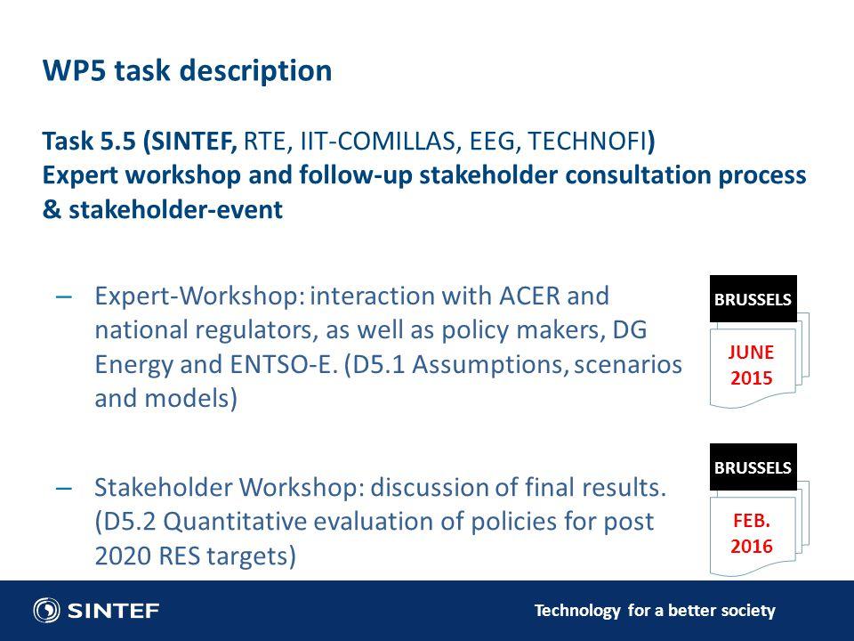 Technology for a better society WP5 task description JUNE 2015 BRUSSELS FEB.