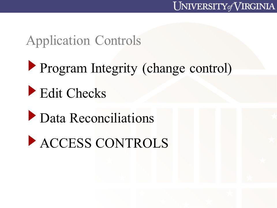 Application Controls Program Integrity (change control) Edit Checks Data Reconciliations ACCESS CONTROLS