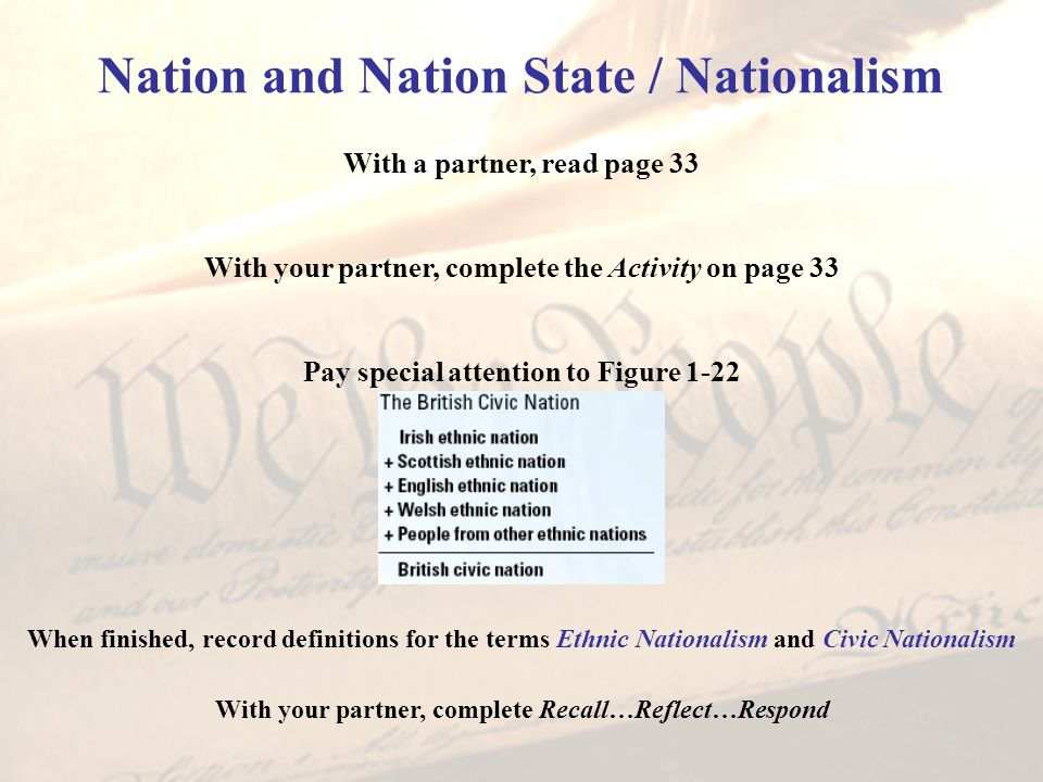 Nation and Nation State / Nationalism With a partner, read page 33 With your partner, complete the Activity on page 33 Pay special attention to Figure 1-22 When finished, record definitions for the terms Ethnic Nationalism and Civic Nationalism With your partner, complete Recall…Reflect…Respond