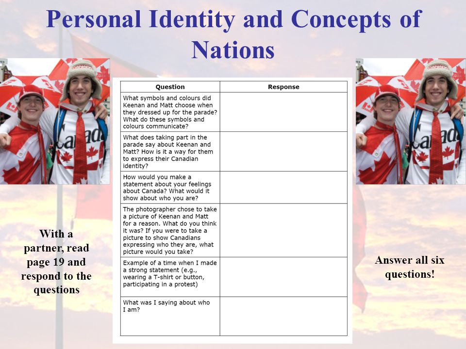 Personal Identity and Concepts of Nations With a partner, read page 19 and respond to the questions Answer all six questions!