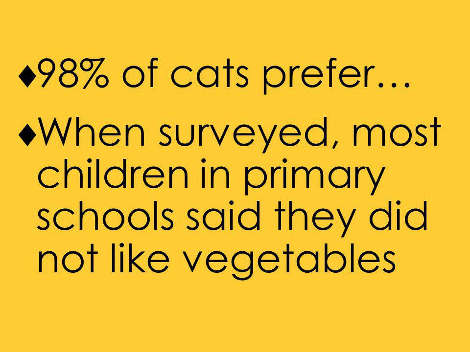  98% of cats prefer…  When surveyed, most children in primary schools said they did not like vegetables