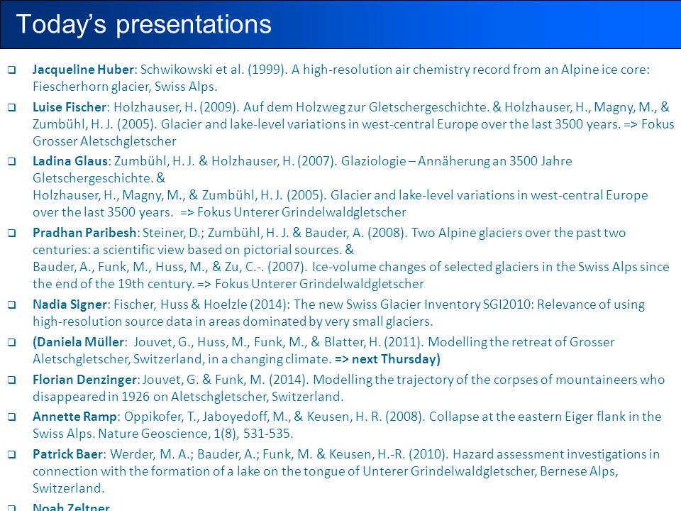 Today's presentations  Jacqueline Huber: Schwikowski et al. (1999). A high-resolution air chemistry record from an Alpine ice core: Fiescherhorn glac