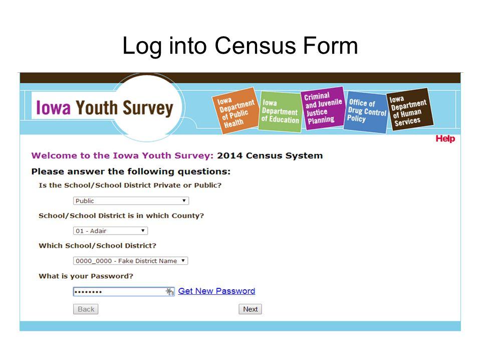 Log into Census Form