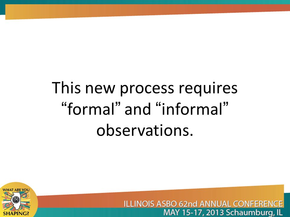 This new process requires formal and informal observations.