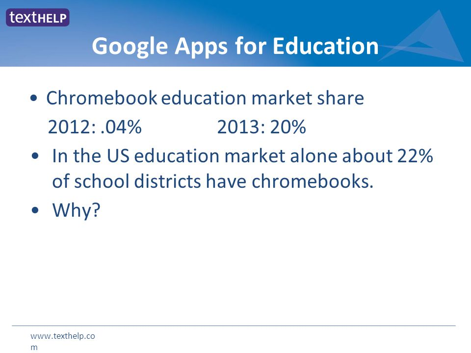 www.texthelp.co m Google Apps for Education Chromebook education market share 2012:.04% 2013: 20% In the US education market alone about 22% of school