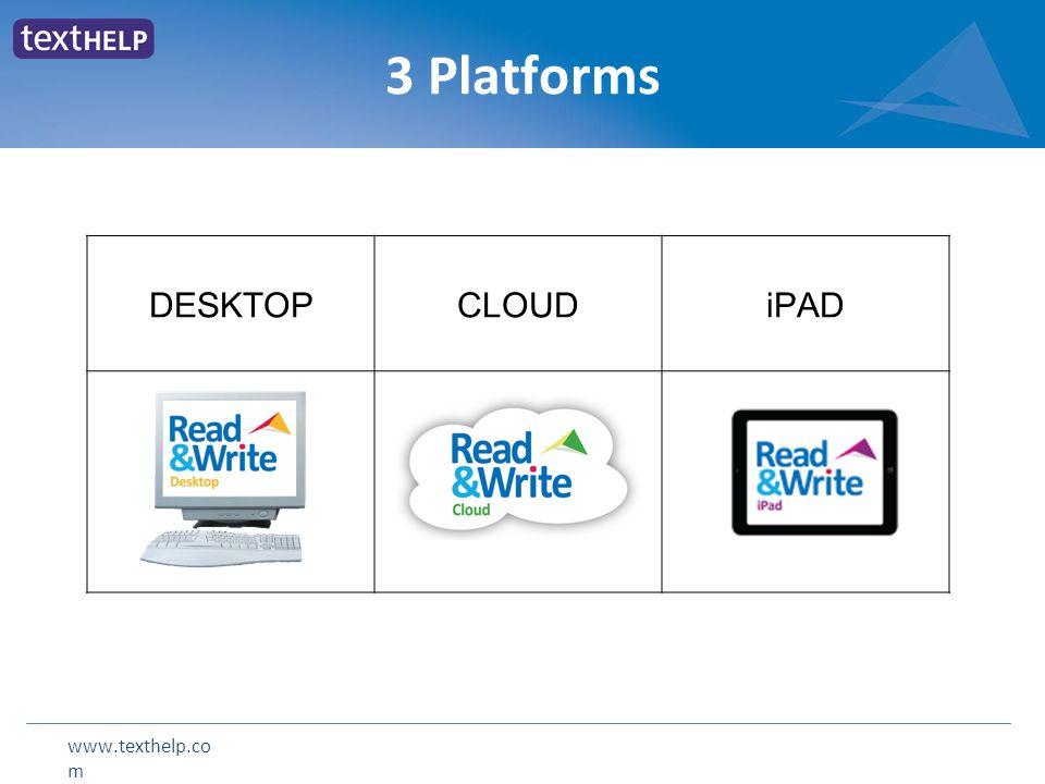 www.texthelp.co m 3 Platforms DESKTOPCLOUDiPAD