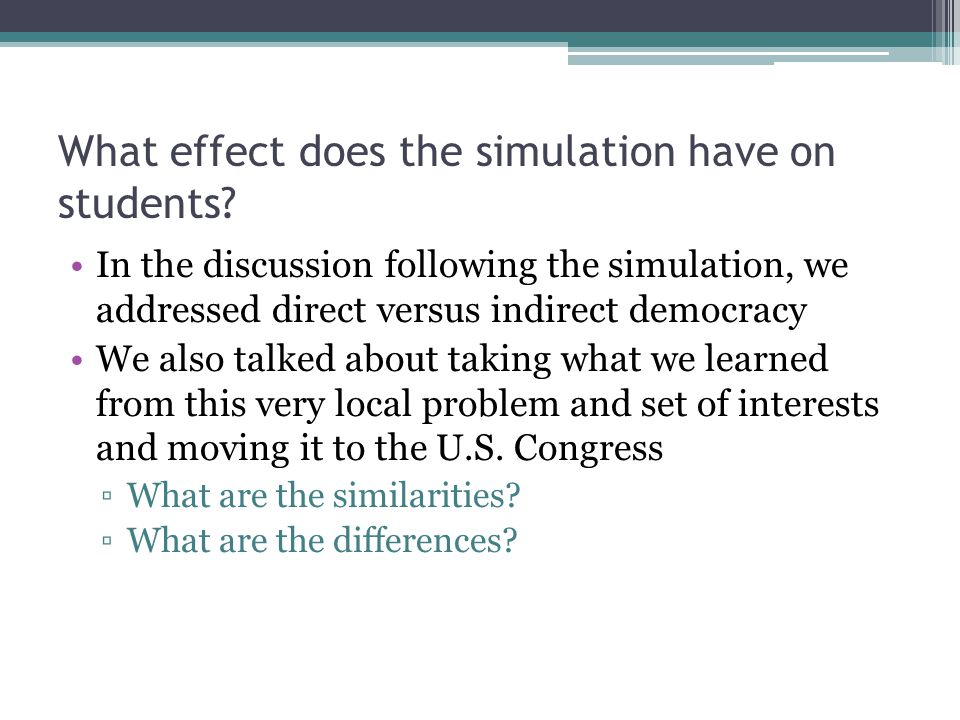 What effect does the simulation have on students.