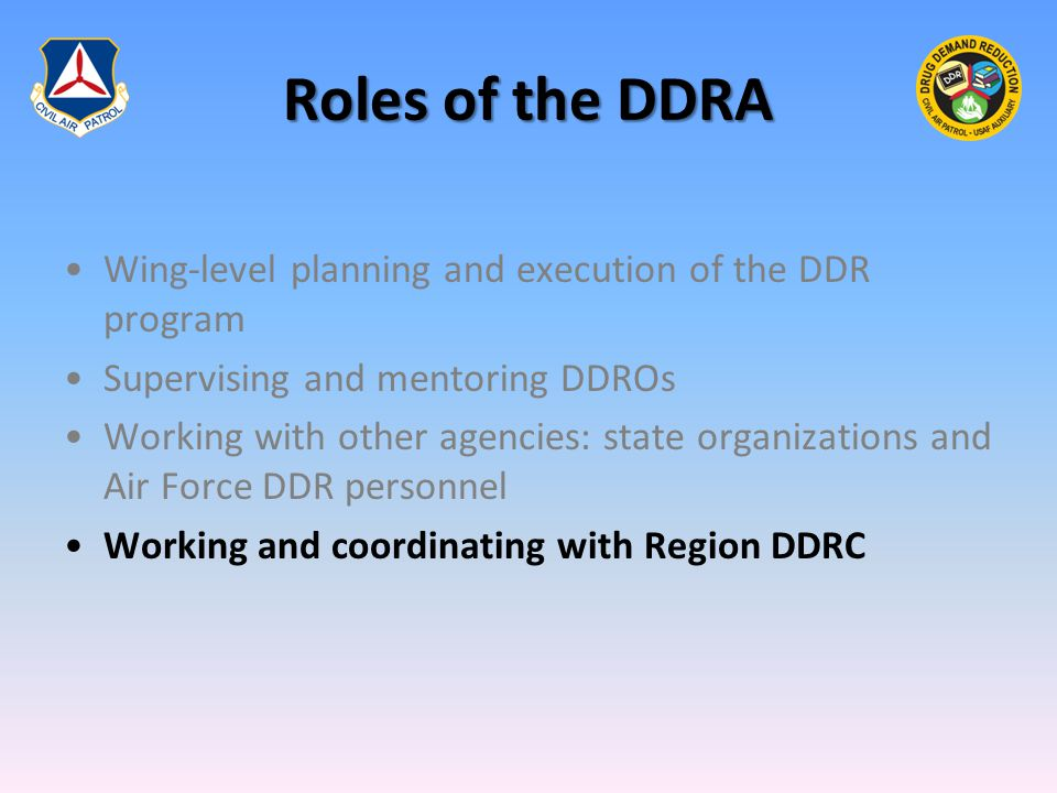 Roles of the DDRA Wing-level planning and execution of the DDR program Supervising and mentoring DDROs Working with other agencies: state organizations and Air Force DDR personnel Working and coordinating with Region DDRC