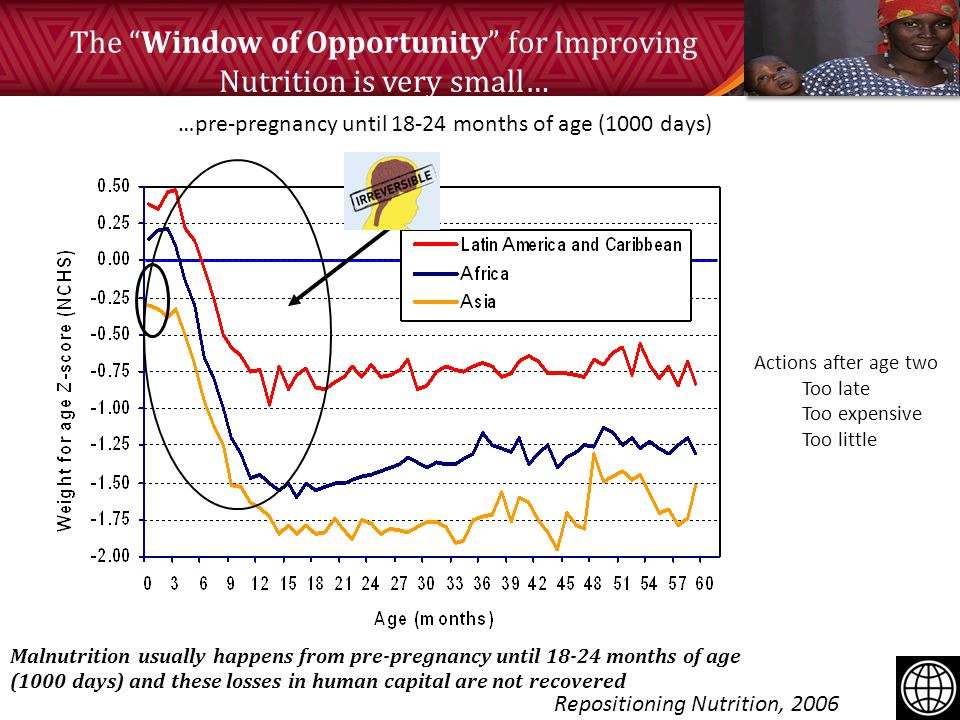The Window of Opportunity for Improving Nutrition is very small… Repositioning Nutrition, 2006 …pre-pregnancy until 18-24 months of age (1000 days) Actions after age two Too late Too expensive Too little Malnutrition usually happens from pre-pregnancy until 18-24 months of age (1000 days) and these losses in human capital are not recovered