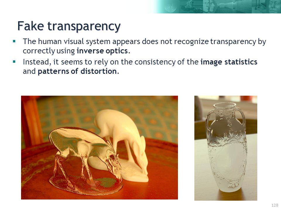 128 Fake transparency  The human visual system appears does not recognize transparency by correctly using inverse optics.