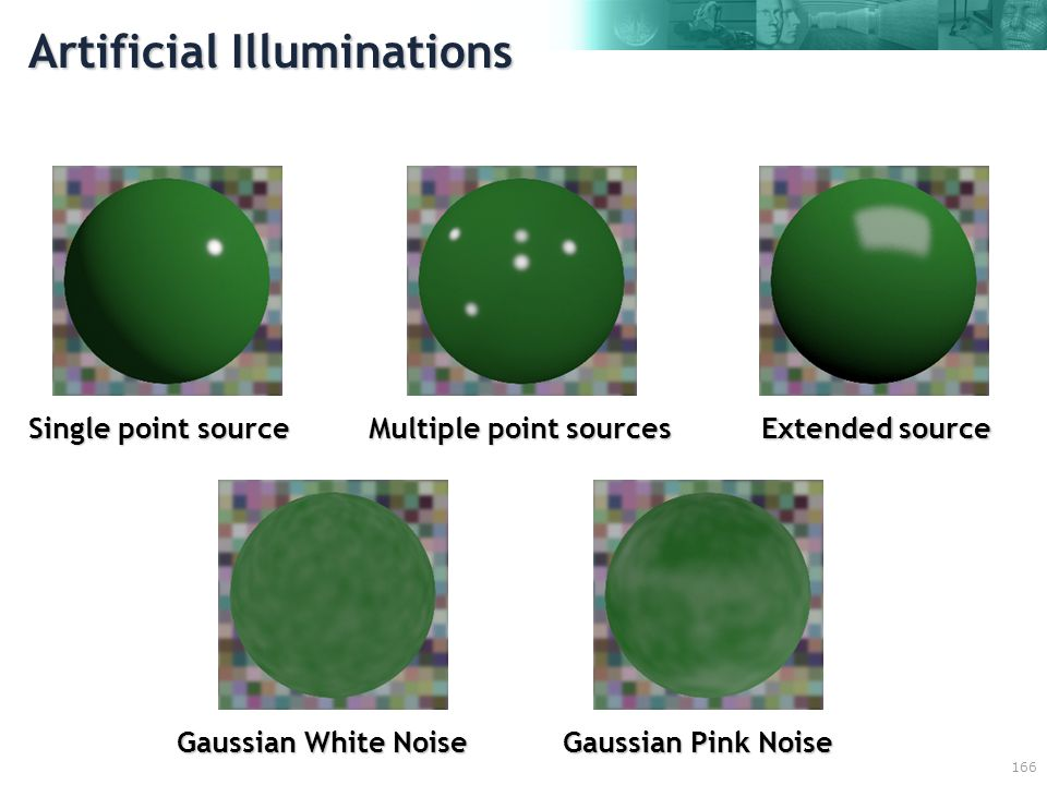 166 Artificial Illuminations Single point source Multiple point sources Extended source Gaussian White Noise Gaussian Pink Noise