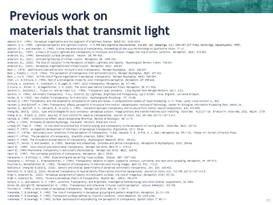 35 Previous work on materials that transmit light Adelson E.H.