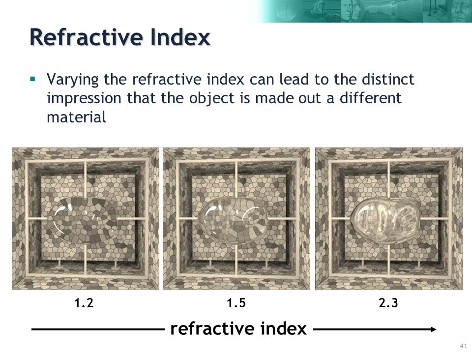 41 Refractive Index  Varying the refractive index can lead to the distinct impression that the object is made out a different material 1.51.22.3 refractive index