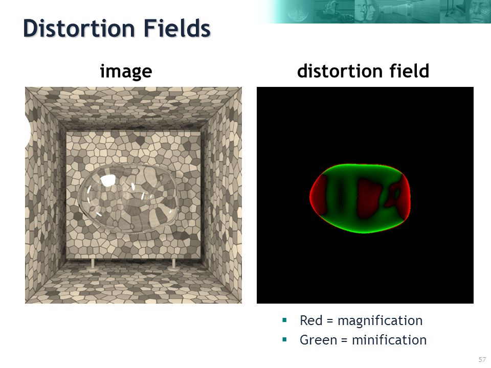 57 Distortion Fields distortion fieldimage  Red = magnification  Green = minification