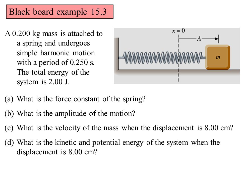 A 0.200 kg mass is attached to a spring and undergoes simple harmonic motion with a period of 0.250 s.