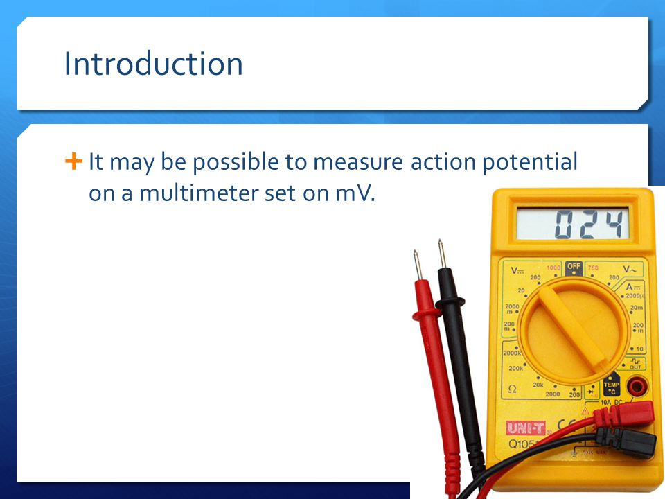 Introduction  It may be possible to measure action potential on a multimeter set on mV.