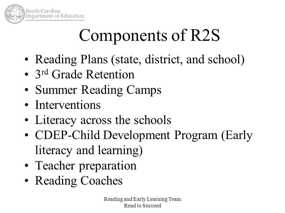 Interventions Who can provide these interventions outside of the regular classroom: –Interventionists Must have their Literacy Teacher endorsement Reading Recovery Training preferred but not required Reading and Early Learning Team Read to Succeed