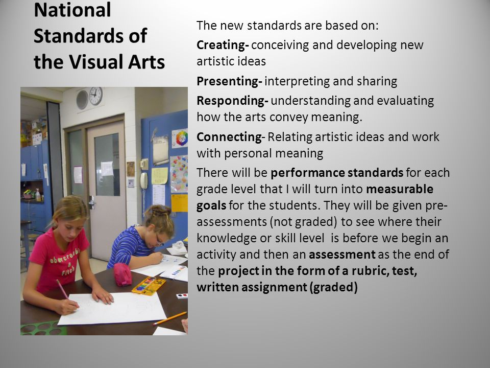 National Standards of the Visual Arts The new standards are based on: Creating- conceiving and developing new artistic ideas Presenting- interpreting and sharing Responding- understanding and evaluating how the arts convey meaning.