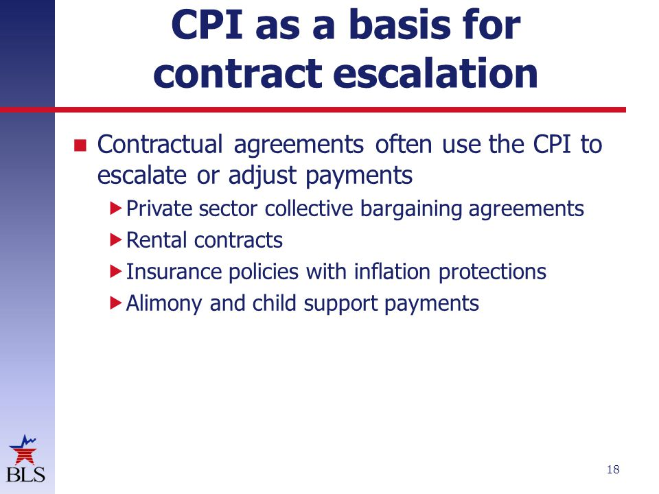 CPI as a basis for contract escalation Contractual agreements often use the CPI to escalate or adjust payments  Private sector collective bargaining