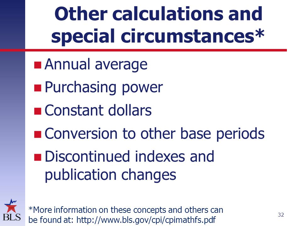 Other calculations and special circumstances* Annual average Purchasing power Constant dollars Conversion to other base periods Discontinued indexes a
