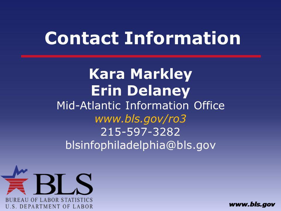 Contact Information Kara Markley Erin Delaney Mid-Atlantic Information Office www.bls.gov/ro3 215-597-3282 blsinfophiladelphia@bls.gov