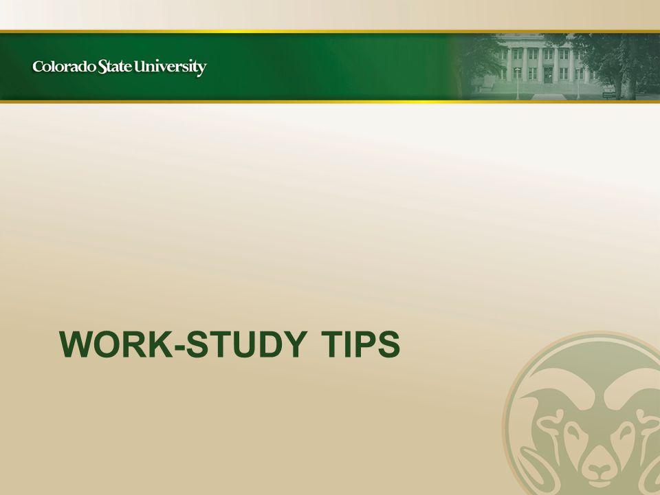 WORK-STUDY TIPS