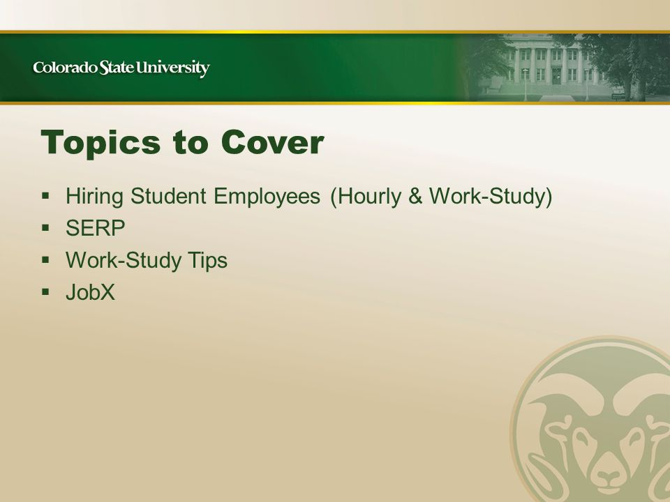 Please sign and return these documents to Student Employment Services:  Memo of Understanding  Compliance Review