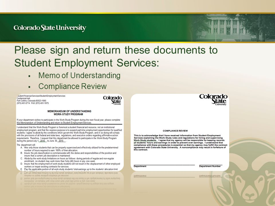 Please sign and return these documents to Student Employment Services:  Memo of Understanding  Compliance Review