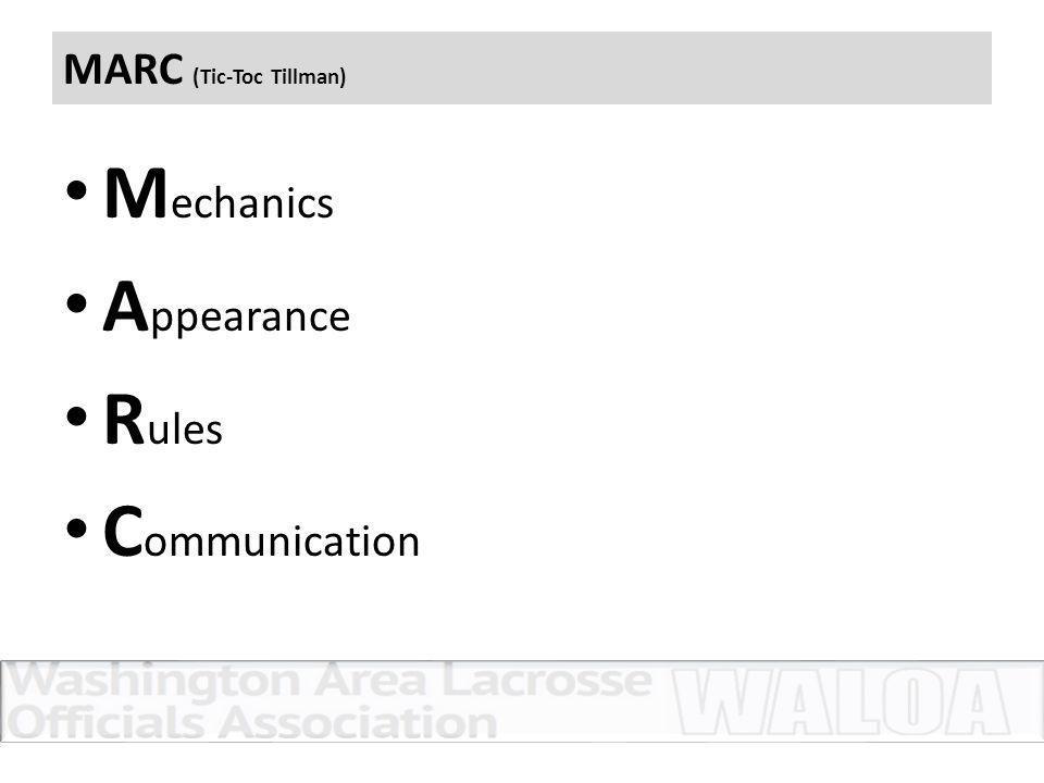 MARC (Tic-Toc Tillman) M echanics A ppearance R ules C ommunication