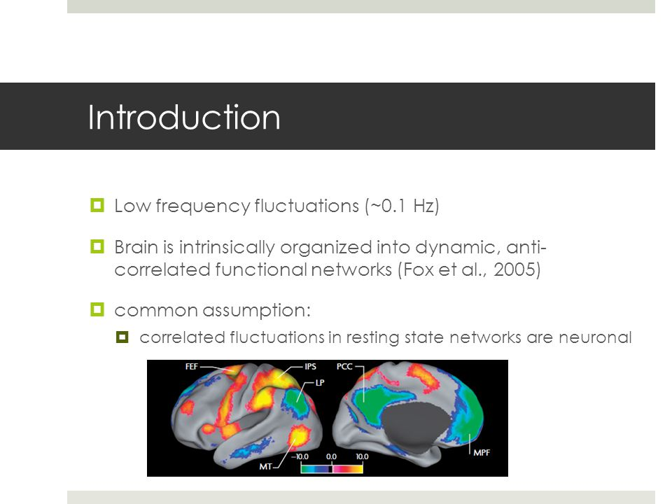 Introduction  Low frequency fluctuations (~0.1 Hz)  Brain is intrinsically organized into dynamic, anti- correlated functional networks (Fox et al.,