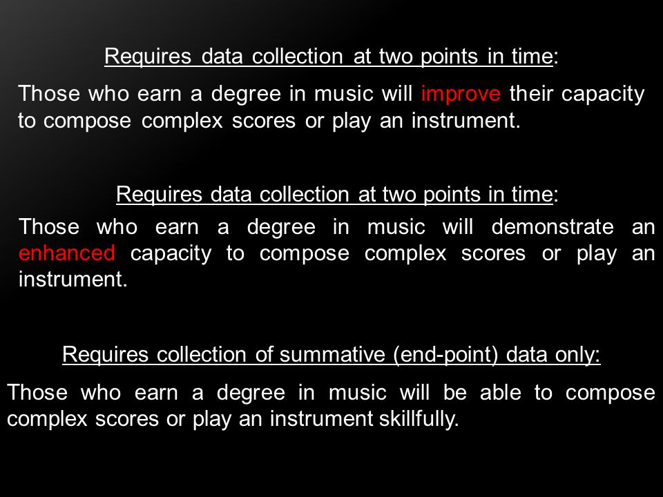 Requires data collection at two points in time: Those who earn a degree in music will improve their capacity to compose complex scores or play an inst